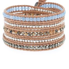 Blue Mirage Mix Wrap Bracelet on Beige Leather - Chan Luu