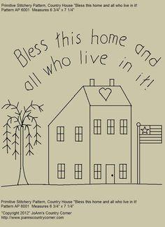 Primitive Stitchery EPattern Saltbox House par JoAnnCountryCorner, $2.00