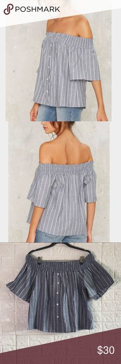 🆕 Nasty Gal Braden Off-the-shoulder Top Off shoulder top with scrunch detail , very nice stretch , fits true to size may also fit a size bigger Nasty Gal Tops Blouses