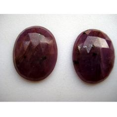 Ruby Rose Cut Oval Shaped Matched Pair Micro by gemsforjewels, $23.50