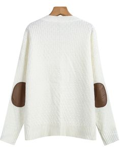Shop White Long Sleeve Elbow Patch Cable Knit Sweater online. Sheinside offers White Long Sleeve Elbow Patch Cable Knit Sweater & more to fit your fashionable needs. Free Shipping Worldwide!