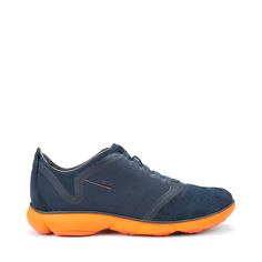 "cool shoe: GEOX (Italy) 2015 sneaker ""Nebula"" $180: (navy/orange) breathable + flexible + super lightweight •  comfort + style! • sole: max grip / flexibility / cushioning • Net Breathing System:  inner breathing in every direction • $180"