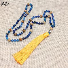 JINSE New Blue Stripe Stone Beads Buddha Bead Handmade Tassel Pendant Necklace Knotted Necklace Summer Women Jewelry BLS115 #Affiliate