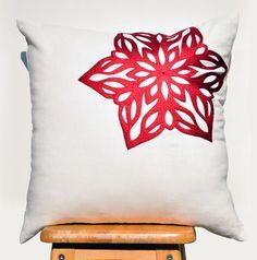 White+Snowflakes+Pillow+Cover+Red+Snowflakes+on+White+by+KainKain  on etsy $25