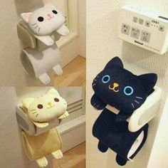 Cat Toilet Paper Holder Roll Storage Cover / Black Tiger Kitty / Fluffy Kawaii in Home & Garden, Bath, Toilet Paper Storage & Covers Cat Toilet Paper Holder Roll My kids would love this! I'm always running out of toilet paper The toilet roll paper holder Cat Crafts, Sewing Crafts, Diy And Crafts, Sewing Projects, Diy Projects, Handmade Crafts, Cat Toilet Training, Toilet Paper Storage, Ideias Diy