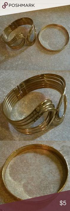 2 Gold Plated Bracelets Set Gold Plated jewelry Jewelry Bracelets