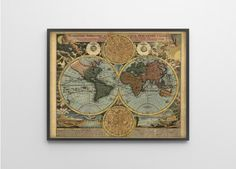 Antique World Map Reproduction Print of 1712 Vintage by BySamantha
