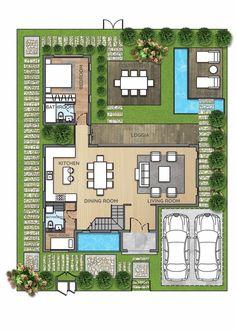 Ideas Small Villa Landscape Design For 2019 House Layout Plans, House Layouts, Small House Plans, Villa Plan, Home Design Floor Plans, House Floor Plans, Courtyard House, Facade House, House Construction Plan