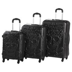 Jetset in style with this essential luggage set, showcasing an eye-catching embossed skull design. Fully-lined interiors, lightweight frames, and wheeled bas...