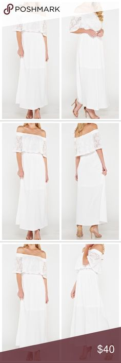 off the shoulder maxi dress Absolutely stunning white off the shoulder maxi dress with lace overlay PLEASE Use the Poshmark new option you can purchase and it will give you the option to pick the size you want ( all sizes are available) BUNDLE and save 10% ( no trades price is firm unless bundled) Dresses Maxi
