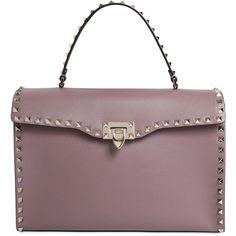 Valentino Women Rockstud Brushed Leather Top Handle Bag (141.155 RUB) ❤ liked on Polyvore featuring bags, handbags, dark pink, brown handbags, studded bag, studded handbags, valentino purses and studded purse