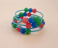 Blue Beaded Memory Wire Bracelet £3.50