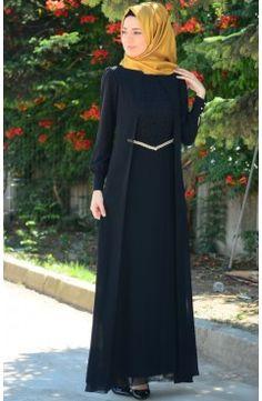 Sefamerve, Tesettür Elbise FY 52264-04 Siyah