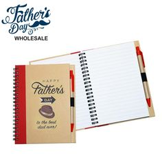 Enviro Notebook with Pen Small Printed Fathers Day Best Dad Ever design. Wholesale fathers day items and school fundraising items, perfect for fathers day stall and good markup. Personalized Wedding, Personalized Gifts, Free Pen, School Fundraisers, Pen Sets, Best Dad, Groomsman Gifts, Happy Fathers Day, Peace Of Mind