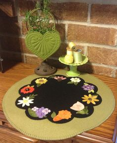 Wool Applique Pretty Penny Precuts May Day Candle Mat featuring Die Cut Flowers
