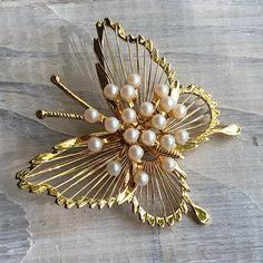 a10da009bbe Vintage Monet Pearl Butterfly Brooch ... 1960s