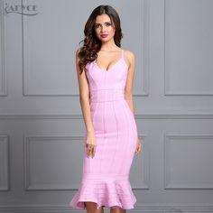 44e7363259ce Buy Adyce Women Spring Bandage Dress 2018 Pink Spaghetti Strap Mermaid  Vestidos V-Neck Knee Length Celebrity Evening Party Dresses >>>>Check Link