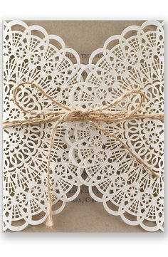 Rustic Laser & Lace Wedding Invitation by David's Bridal | Follow us and start pinning pretty paper options - from invitations and save the dates to programs and table numbers - for a chance to win $1,000 to InvitationsbyDavidsBridal.com. Enter here: http://sweeps.piqora.com/rsvpready