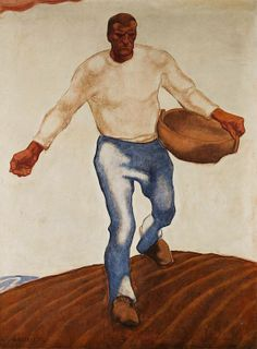 'The Sower.' Painting by Albin Egger-Lienz Oil Painting Gallery, Painting Prints, Tempera, European Paintings, Country Art, Oil Painting Reproductions, Selling Art, Artist Art, Figurative Art