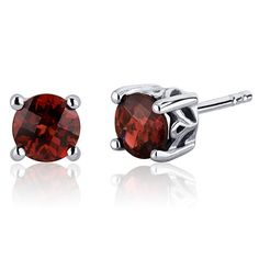 MSRP: $124.99  Our Price: $69.99  Savings: $55.00    Item Number: SE7944    Availability: Usually Ships in 5 Business Days    PRODUCT DESCRIPTION:    Plum Red Hue with Brilliant Sparkle, Genuine Garnet in Sterling Silver Round Stud Earrings are essential for any girl's jewelry collection. These gorgeous studs are fashioned into sleek sterling silver four-pronged mount. Fit is secure and comfortable with post-tension earrings backs.    Garnet makes a wonderful gift for just about any occasion…