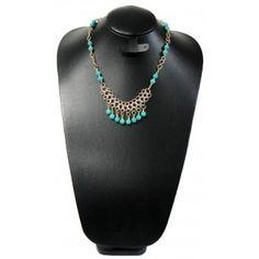 Collar de Moda con Turquesa y Cadena de Aluminio