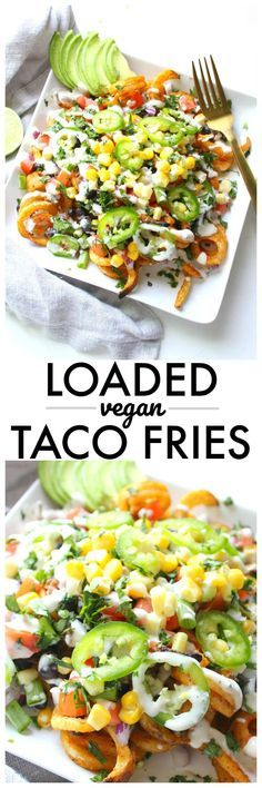 Vegan Taco Fries - This Savory Vegan All of your favorite taco flavors come together with these Loaded Vegan Taco Fries. A fun game day snack or quick dinner Veggie Recipes, Mexican Food Recipes, Whole Food Recipes, Cooking Recipes, Healthy Recipes, Healthy Fries, Vegan Soul Food Recipes, Vegan Recipes Beginner, Veggie Meals