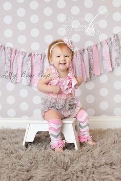 Baby Girl ClothesSpring OutfitPink & Gray Chevron by LillyBowPeep, $19.99