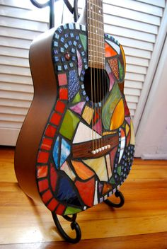 """Stained glass mosaic guitar- """"Whirlwind"""". $250.00, via Etsy."""