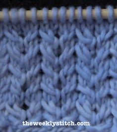 Spine Stitch. Multiple of 6 + 4 Row 1: (WS) *P5, K1* to last four stitches, P4 Row 2: K4 *K1, P1, K4*