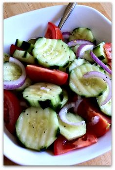 Cucumber Salad. The dressing really makes this dish!