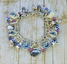 Doll house tea party bracelet pink and blue china by wilywolverine