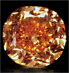 Pumpkin Diamond, a Fancy Vivid Orange diamond with a finished weight of 5.54 carats. It is the world's largest known Fancy Vivid Orange diamond, valued at 3 million dollars.