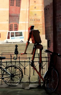 Goro Fujita #Robot #Red #Cat #Bicycles