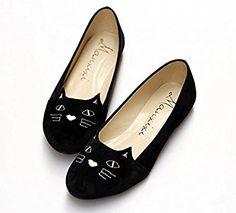 YU&YUCute kitty cat head women's flat shoes single shoes ( more colors available) , black , US6 / EU36 / UK4 / CN36