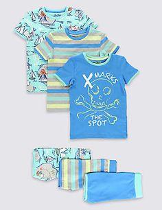 3 Pack Cotton Rich Stay Soft Treasure Map Short Pyjamas (1-8 Years)