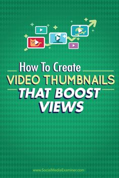 A video thumbnail works similarly to a book cover. It sells your video to potential viewers. Here are nine tips to create thumbnail images that boost video views. Need more video views? Marketing Website, Marketing Software, Marketing Digital, Email Marketing, Internet Marketing, Social Media Marketing, Marketing Tools, Marketing Consultant, Marketing Strategies