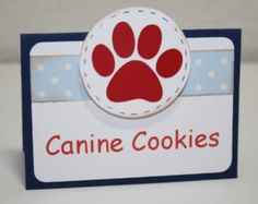 Dog Birthday Party - Paw print Food label / Place cards, set of 6, custom wording