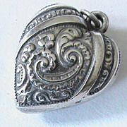Antique Art Nouveau Sterling Silver Puffy Heart Charm