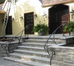 Peffers Plane & Anvil Ltd. Step Railing Outdoor, Porch Step Railing, Outdoor Stair Railing, Outdoor Steps, Porch Steps, Rebar Railing, Exterior Handrail, Iron Handrails, Wrought Iron Stair Railing