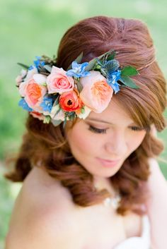 Bridal Flower Crown of Spring Blooms Photography by Anna Kardos