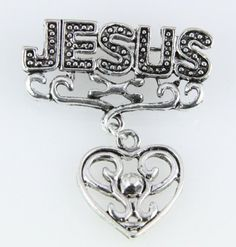 6030050 Jesus Heart Brooch Lapel Pin CZ Diamond Love Christian Religious Brooches & Pins. $7.99. Beautiful Satin Lined Gift Box Included. Durable Construction. Christian Faith Message. Dangling Heart. Jesus in Bold