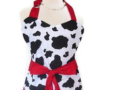 Reversible Sweetheart Apron for Women, Cow Print with red, Mother's Day Apron, Cute Apron, Sexy Apron, personalized aprons, flirty aprons