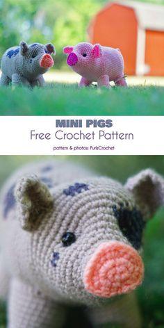 Mini Pigs Free Crochet Pattern - Claire C. Mini Pigs Free Crochet Pattern - Always wanted to be able to knit, nonetheless not s. Bunny Crochet, Cute Crochet, Crochet Crafts, Crochet Baby, Knit Crochet, Crotchet, Crochet Dinosaur, Crochet Unicorn, Quick Crochet