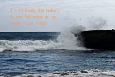 Leo Tolstoy beauty quote paired with a pic taken of the Santa Cruz surf, June 2012