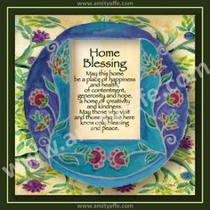 House Home Blessing - Jewish Judaica Art - Signed Print - Circle of flowers - Holidays, House Gift. $20.00, via Etsy.