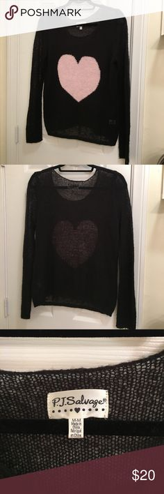 PJ Salvage Cute Comfy Heart Sweater Medium PJ Salvage Cute Heart Sweater size Medium. Super cozy! Can be worn as day or sleep wear. Moderately used condition. PJ Salvage Sweaters