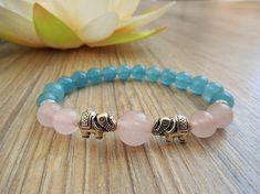 rose quartz bracelet yoga bead bracelet aquamarine bracelet Aquamarine Bracelet, Rose Quartz Bracelet, Elephant Bracelet, Meditation Stones, Bracelet Sizes, Crystal Bracelets, Elephant Gifts, Crystal Healing, Gemstone Beads