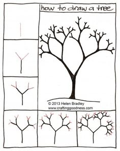 "How to draw a tree step by step. This tutorial makes so much sense! Nice for a ""through the seasons"" project, like with ""Seasons of Arnold's Apple Tree"". Doodle Drawings, Easy Drawings, Doodle Art, Drawing Lessons, Art Lessons, Art Handouts, Directed Drawing, Doodles, Art Worksheets"