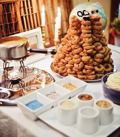 A donut tower with dipping sauces instead of a wedding cake! I. Want. This. | photo by Jamie Delaine