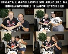 Funny pictures about Badass 90 year old lady meeting Metallica. Oh, and cool pics about Badass 90 year old lady meeting Metallica. Also, Badass 90 year old lady meeting Metallica. Hard Rock, Heavy Metal, Performance Marketing, Old Fan, Blues, Faith In Humanity Restored, Happiness, Akita, Good People